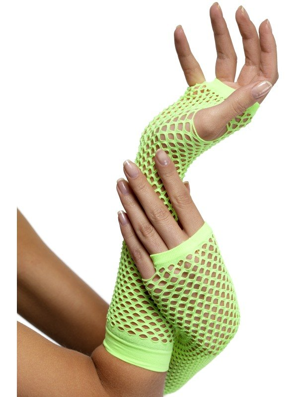 Fishnet Gloves Long Neon Green