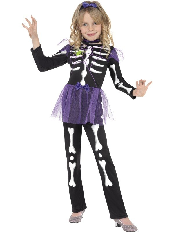 Girls Skellie Punk Fancy Dress Costume