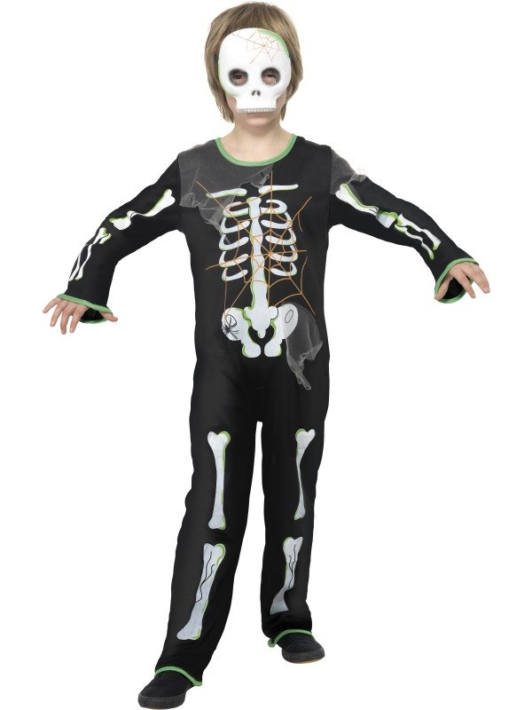 Boys Scary Spider Skeleton Fancy Dress Costume