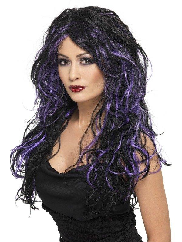 Black and PurpleGothic Bride Fancy Dress Wig