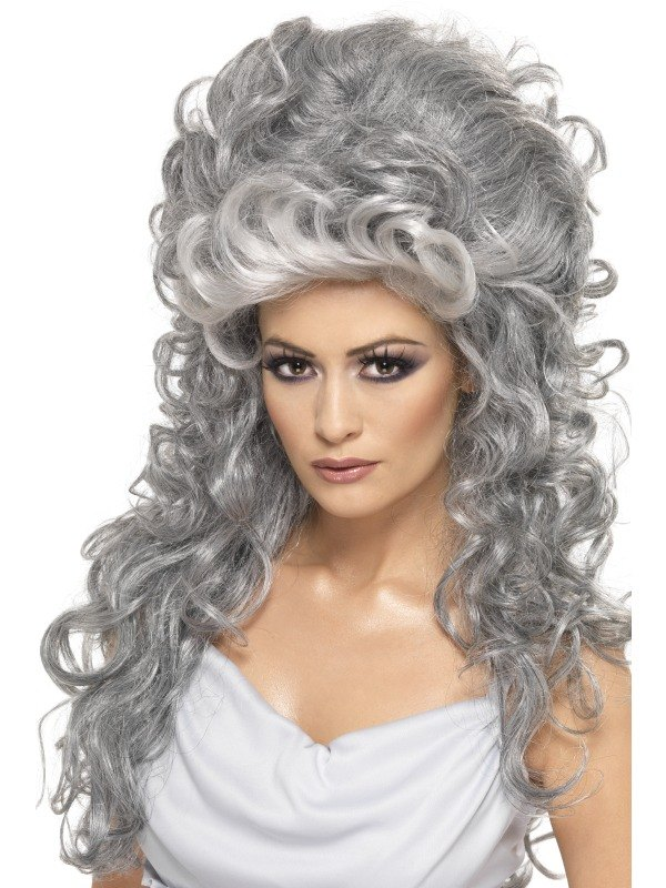 Grey Witch Beehive Fancy Dress Wig