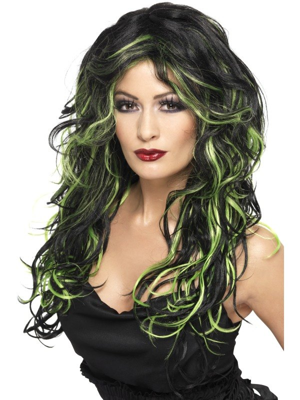 Black and Green Gothic Bride Fancy Dress Wig
