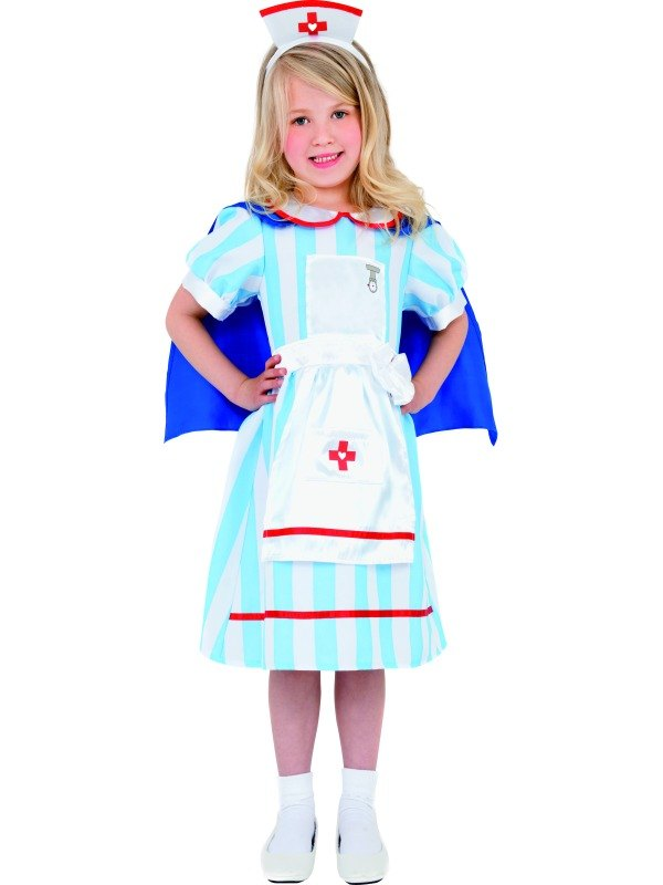 Girls Vintage Nurse Fancy Dress Costume