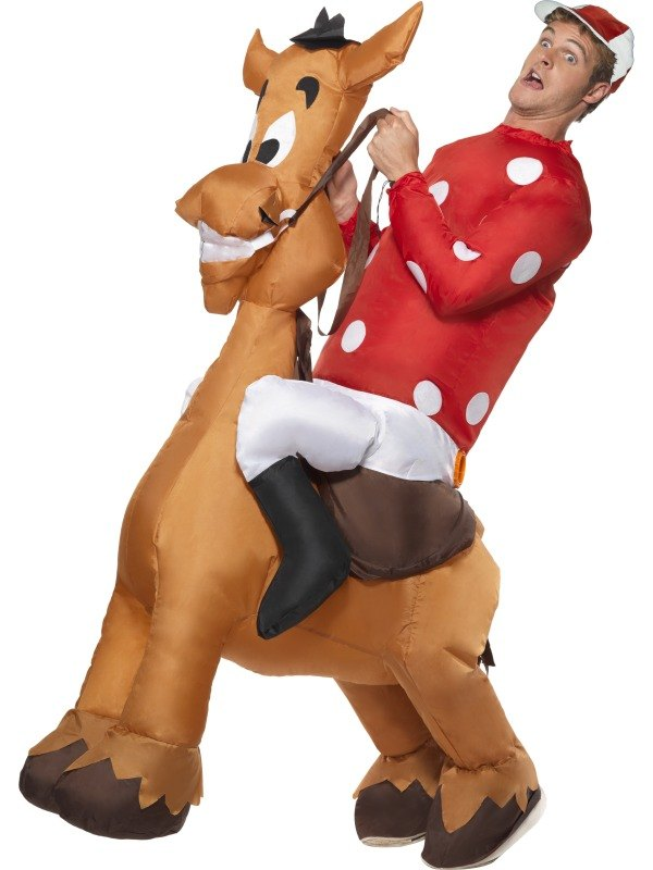 Inflatable Jockey and Horse Fancy Dress Costume