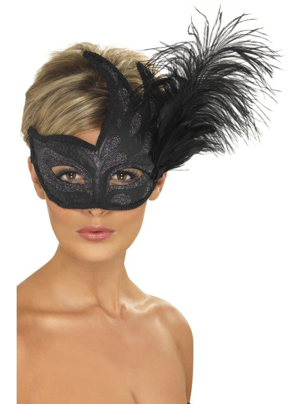 Ornate Colombina Feather Fancy Dress Mask
