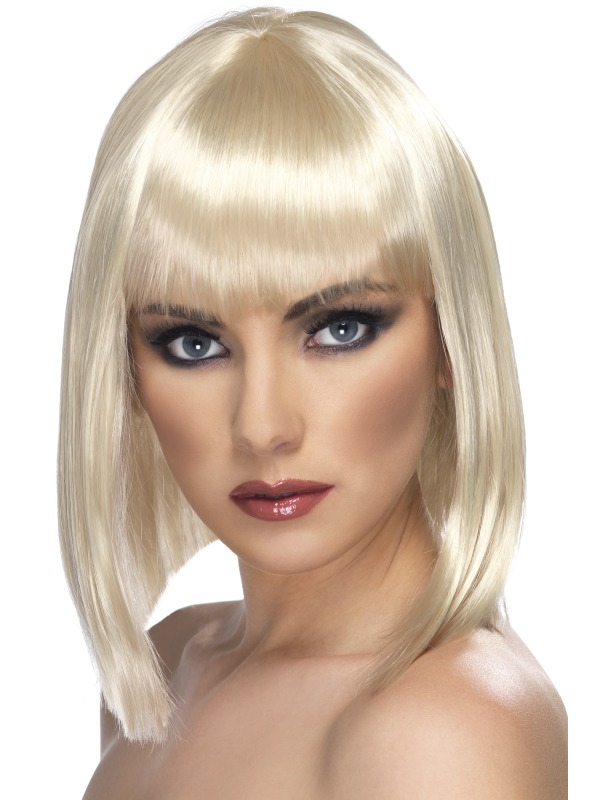 Glam Short Blunt Fancy Dress Wig Blonde