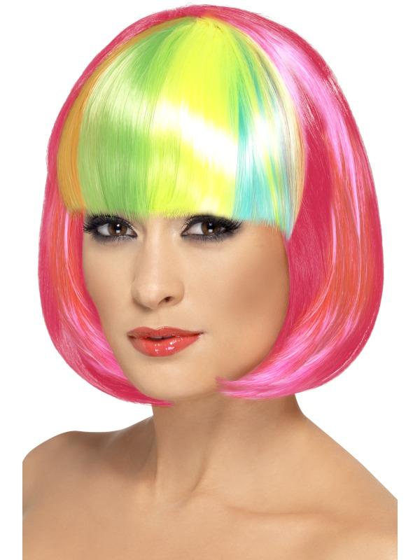 Partyrama Wig, Pink with Rainbow Fringe