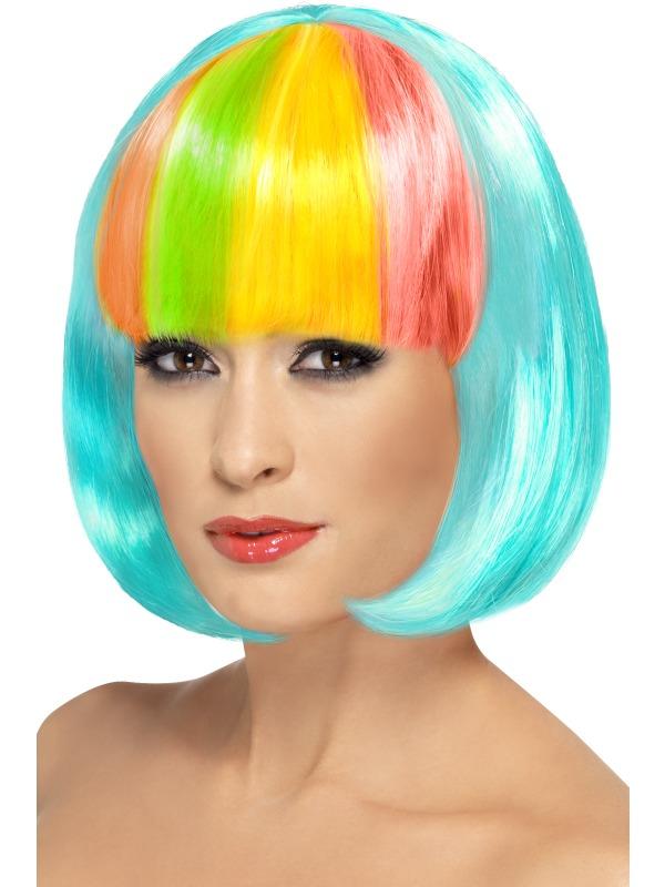 Partyrama Wig,Aqua with rainbow fringe