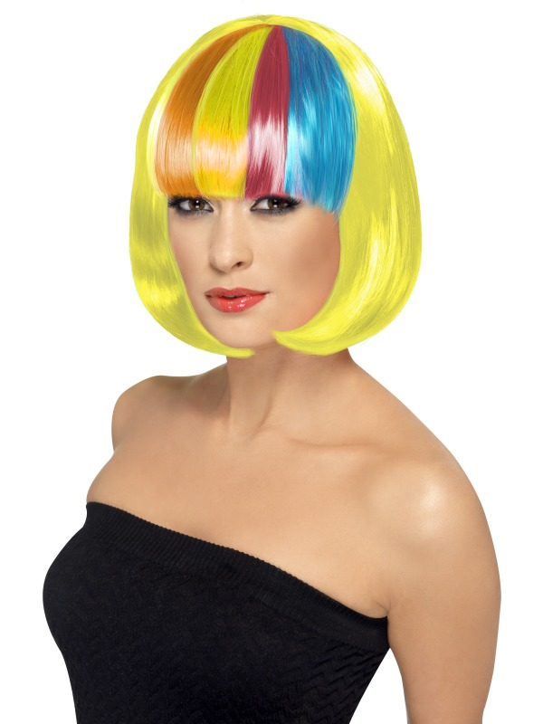 Partyrama Wig, yellow with rainbow fringe