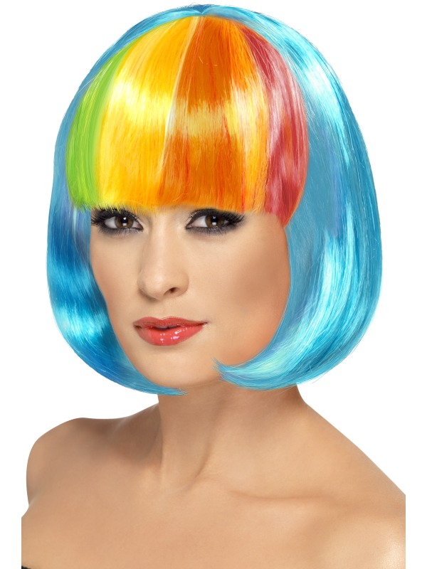 Partyrama Wig,Neon blue with Rainbow fringe