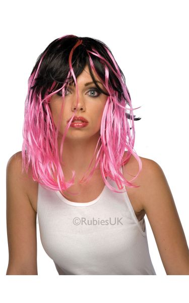 Two Tone Streak Fancy Dress Wig Pink