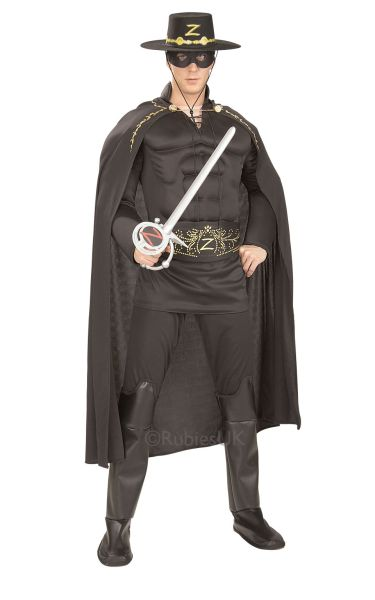 Deluxe Muscle Chest Zorro Fancy Dress Costume