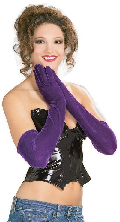 Long Purple Velvet Gloves