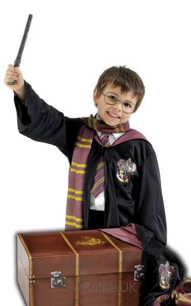 Kids Harry Potter Trunk With Robe, Scarf, Tie, Glasses & Wand