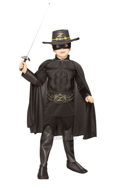 Boys Deluxe Zorro Fancy Dress Costume