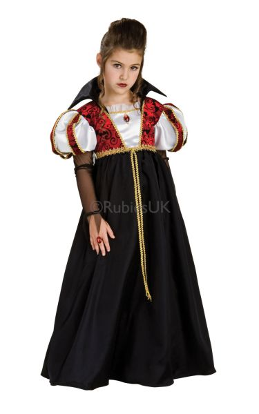 Girls Vampira Fancy Dress Costume