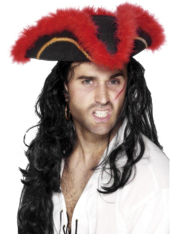 Tricorn Pirate Fancy Dress Hat Red Marabou
