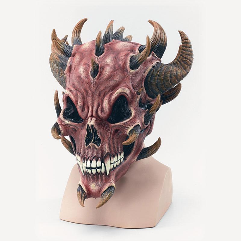Red Devil Skull Rubber Mask