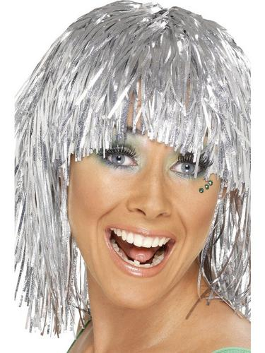 Cyber Tinsel Fancy Dress Wig Silver Thumbnail 1