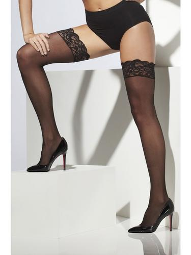 Sheer Hold Ups Black with lace Top Thumbnail 1