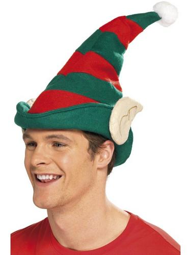 Striped Elf Fancy Dress Hat Thumbnail 1