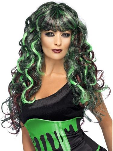 Blood Drip Siren Fancy Dress Wig Black and Green Thumbnail 1