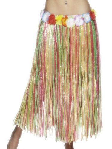 MultiColoured Hula Skirt with Flower 79CM Thumbnail 1