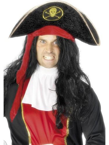 Pirate Fancy Dress Hat with Gold and Red Trim Thumbnail 2