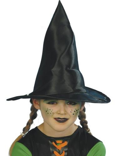 Childs Black Fabric Witch Fancy Dress Hat Thumbnail 1