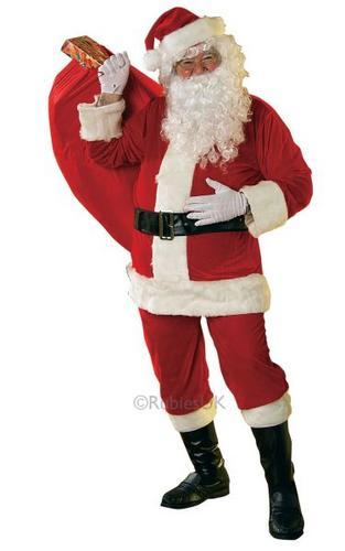 Velour Santa Suit Fancy Dress Costume Thumbnail 1