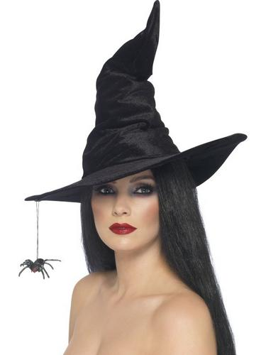 Witch Fancy Dress Hat Black with Spider Thumbnail 1