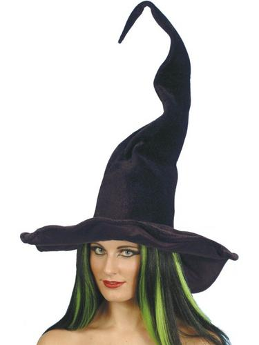Witch Fancy Dress Hat Black Twisty Thumbnail 1