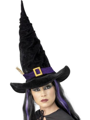 Witch Fancy Dress Hat Black with Buckle Thumbnail 1