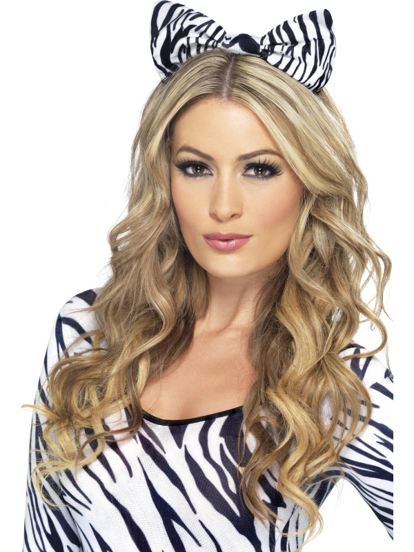 Zebra Bow on Headband Thumbnail 1