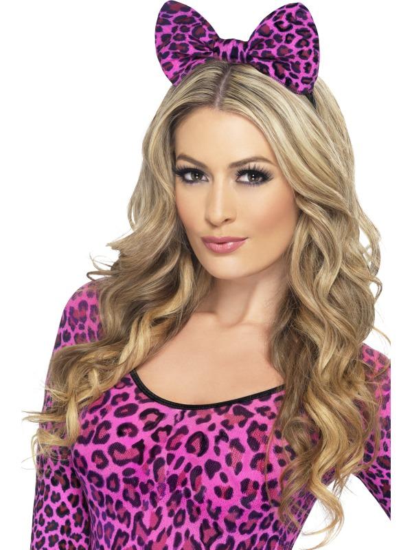 Leopard Bow on Headband Pink Thumbnail 1
