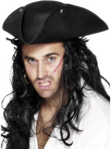 Tricorn Pirate Fancy Dress Hat Plain Black Thumbnail 1