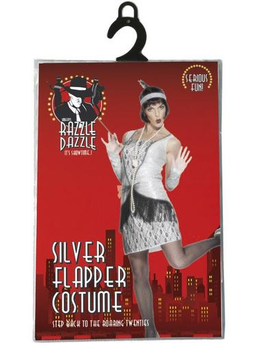 Flapper Fancy Dress Costume Silver Thumbnail 3