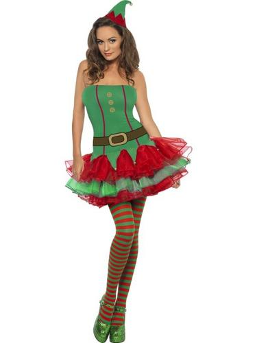 Ladies Elf Fancy Dress Costume Thumbnail 2