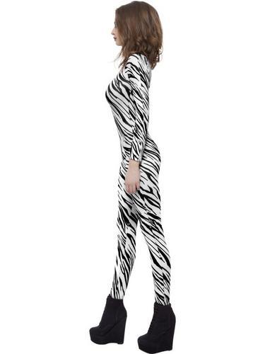Zebra Print Body Suit Fancy Dress Costume Thumbnail 3