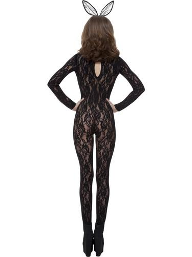 Body Stocking Black Lace Fancy Dress Costume Thumbnail 2