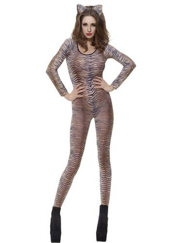 Tiger Print Bodysuit Fancy Dress Costume Thumbnail 1