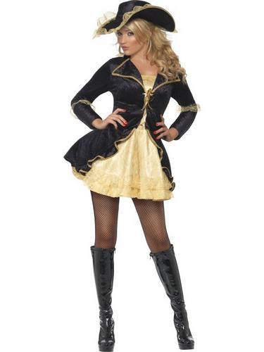 Sexy Black Swashbuckler Fancy Dress Costume Thumbnail 1