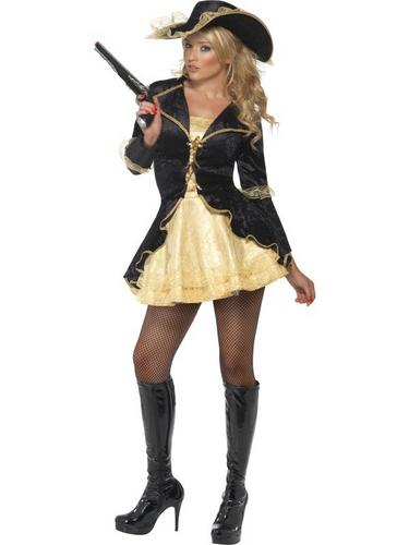Sexy Black Swashbuckler Fancy Dress Costume Thumbnail 2