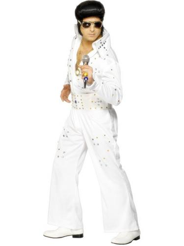Elvis Jumpsuit White with Jewels Thumbnail 1