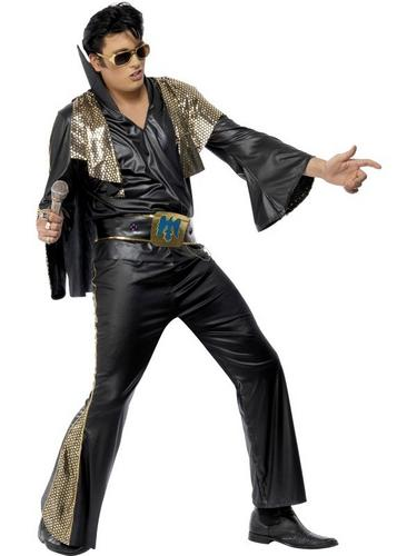 Elvis Fancy Dress Costume Black and Gold Thumbnail 1