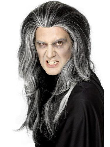 Gothic Vampire Fancy Dress Wig Black and White Thumbnail 1
