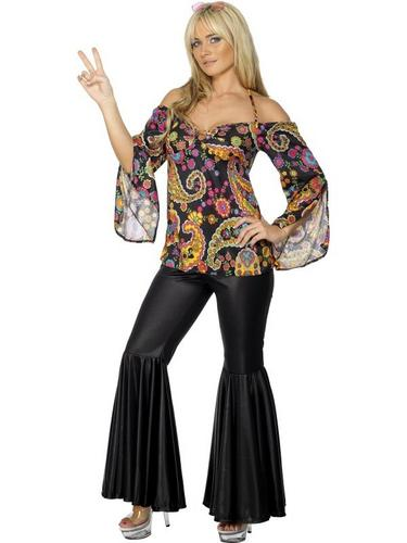 Ladies Hippie Fancy Dress Costume Thumbnail 1