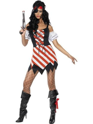 Pirate Lady Fancy Dress Costume Lace Up Thumbnail 2