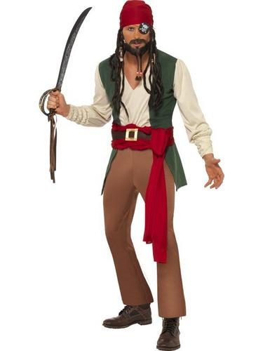 Caribbean Drunken Pirate Fancy Dress Costume Thumbnail 1
