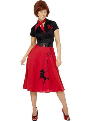 50s Poodle Fancy Dress Costume Black and Red Thumbnail 1